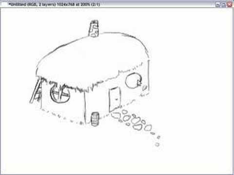 Gimp drawing test simple house sketch youtube for Minimalist house sketch