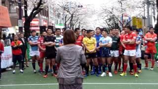 2017/4/8(土) 日八会さくら祭りにて ラグビーTopリーグの皆様と.