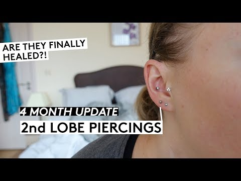 2nd Lobe Piercing Update 4 Month Update Youtube