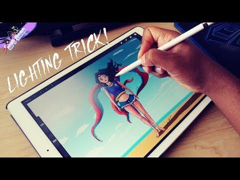 Procreate 4.2 iPad pro drawing trick. How to make light!