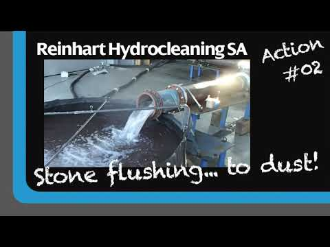 Stone Flushing... To Dust With RCT By Reinhart Hydrocleaning SA. Removal Of Stones With Bypass.