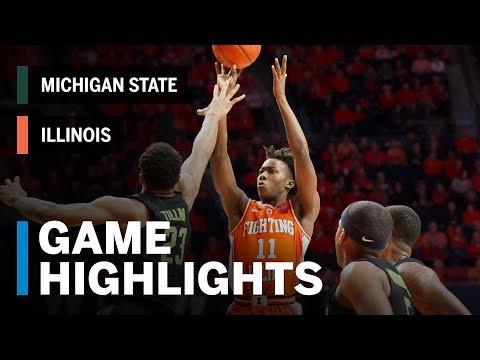 Highlights: Michigan State at Illinois   Big Ten Basketball