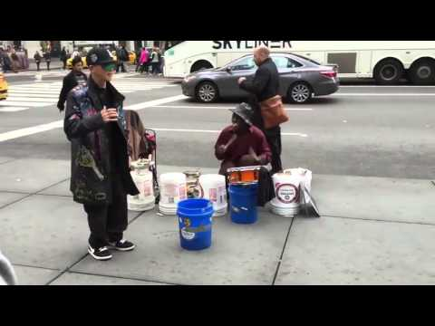 Crazy Dancing to a Street Musician in NYC !!
