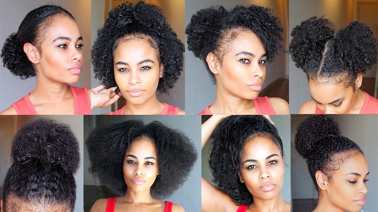 10 QUICK & EASY Natural Hairstyles UNDER 60 seconds! for SHORT/MEDIUM natural hair - YouTube