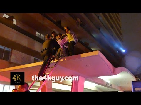 Toronto: Ladder rescue & unconscious victims at building fire 4/19/2015