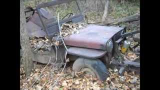 Willys CJ3A Jeep-a-trench found in the woods