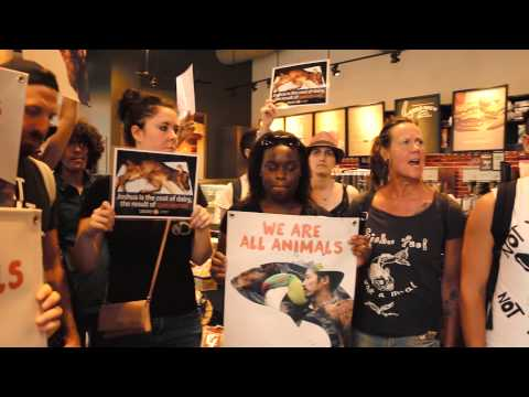 Animal Rights Activists Protest Starbucks to Demand Justice - For Animals and for Humans.