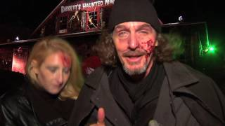 Barrett's haunted mansion - ernie boch jr. in front of the