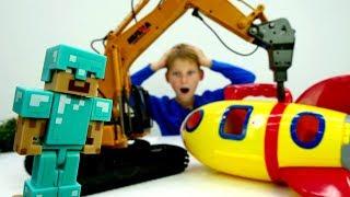 Видео про Майнкрафт - Стив нашел ракету - Игрушки Майнкрафт