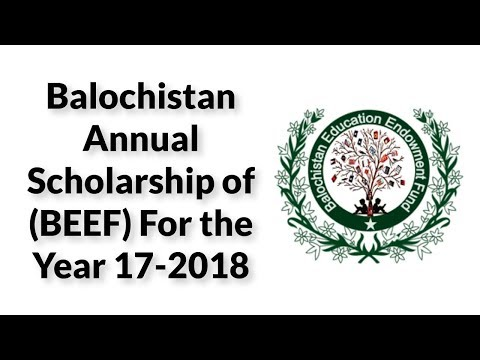 Baluchistan Annual Scholarship of  (BEEF) For the Year 17-2018: