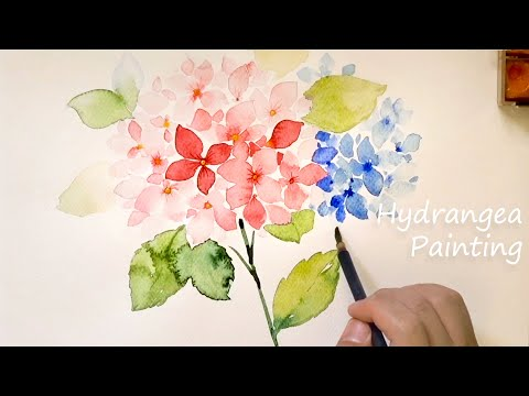 Hydrangea painting / Pure pink and blue watercolor painting