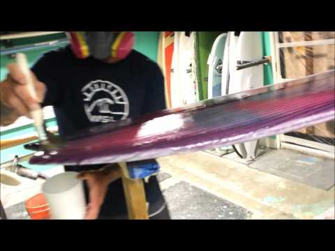 Travis Ward hot coating Sugar the surfing dogs new surfboard
