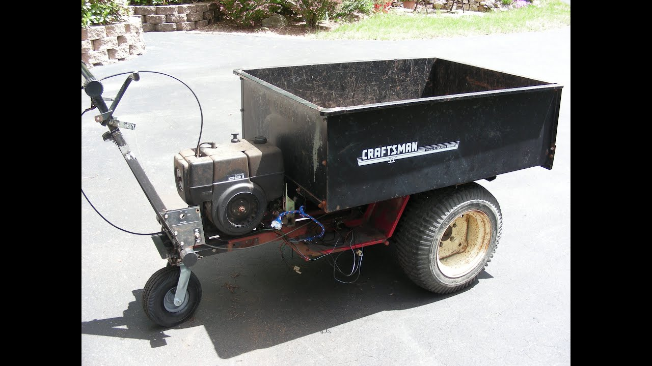 Home made self propelled dump cart made from a Wheel Horse tractor