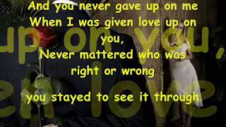 You never gave up on me (lyrics) Crystal Gayle