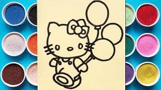 Tô màu tranh cát mèo Hello Kitty & bóng bay -Learn colors with hello kitty sand painting (Chim Xinh)