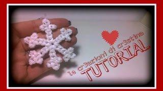 Tutorial Fiocco/Cristallo di Neve con Elastici RAINBOW LOOM - DIY Snowflake Christmas Charm