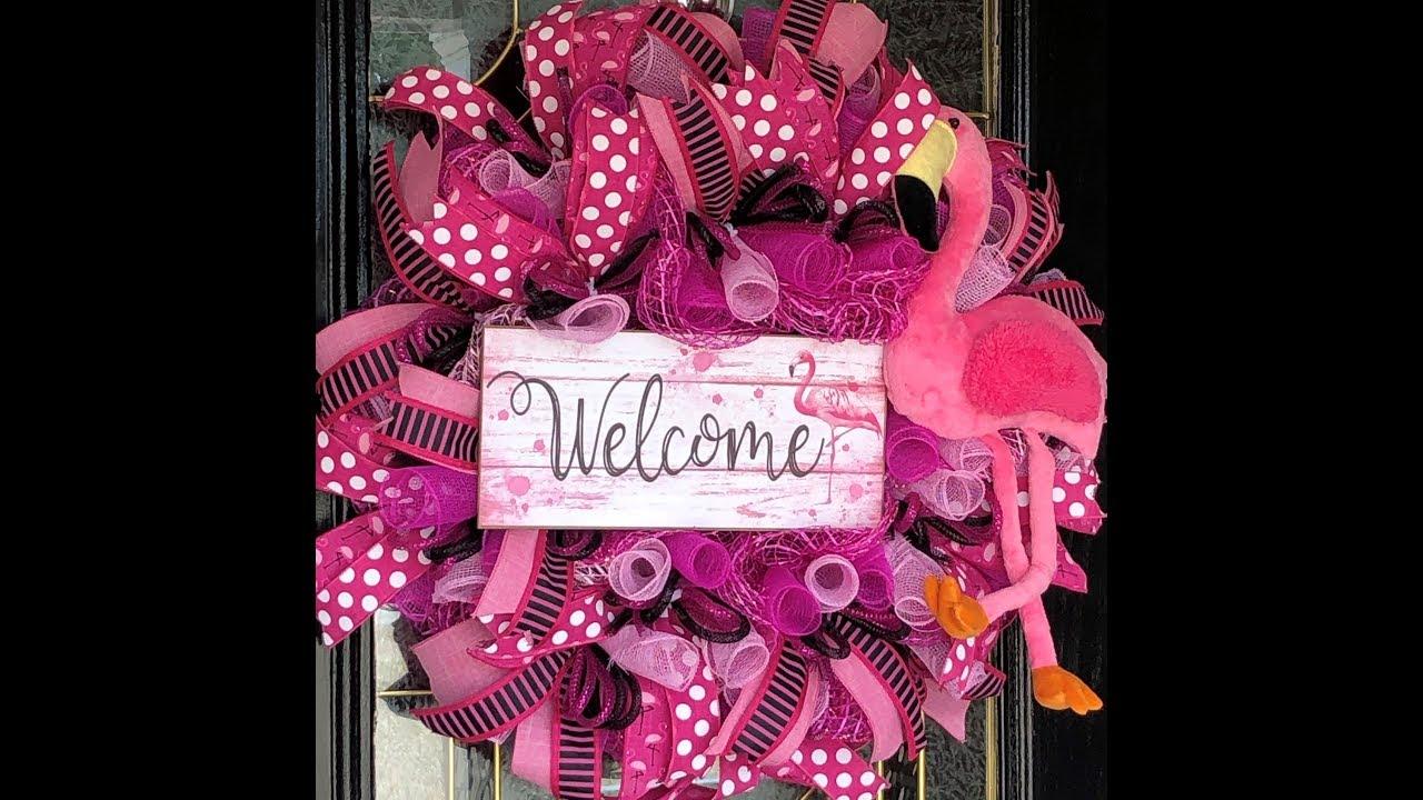 Pink Flamingo Mesh Wreath