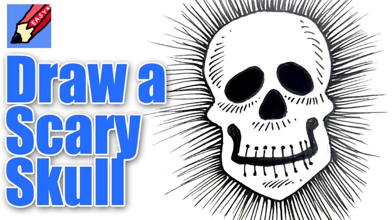 How to draw a Scary Skull Real Easy - YouTube