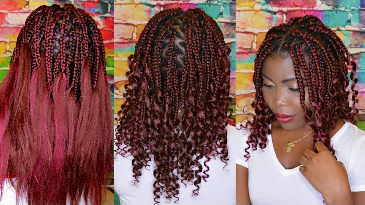 how to do: curly end box braids | diy short goddess box braids |vivian beauty and style