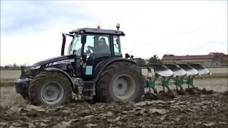MF 5613 Black, Landini 6-175, Kubota M135GX Ploughing - Vercelli 2015