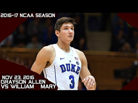 Grayson Allen Full Highlights vs William & Mary (11-23-16) 17 Pts 6 Asts 5 Rebs