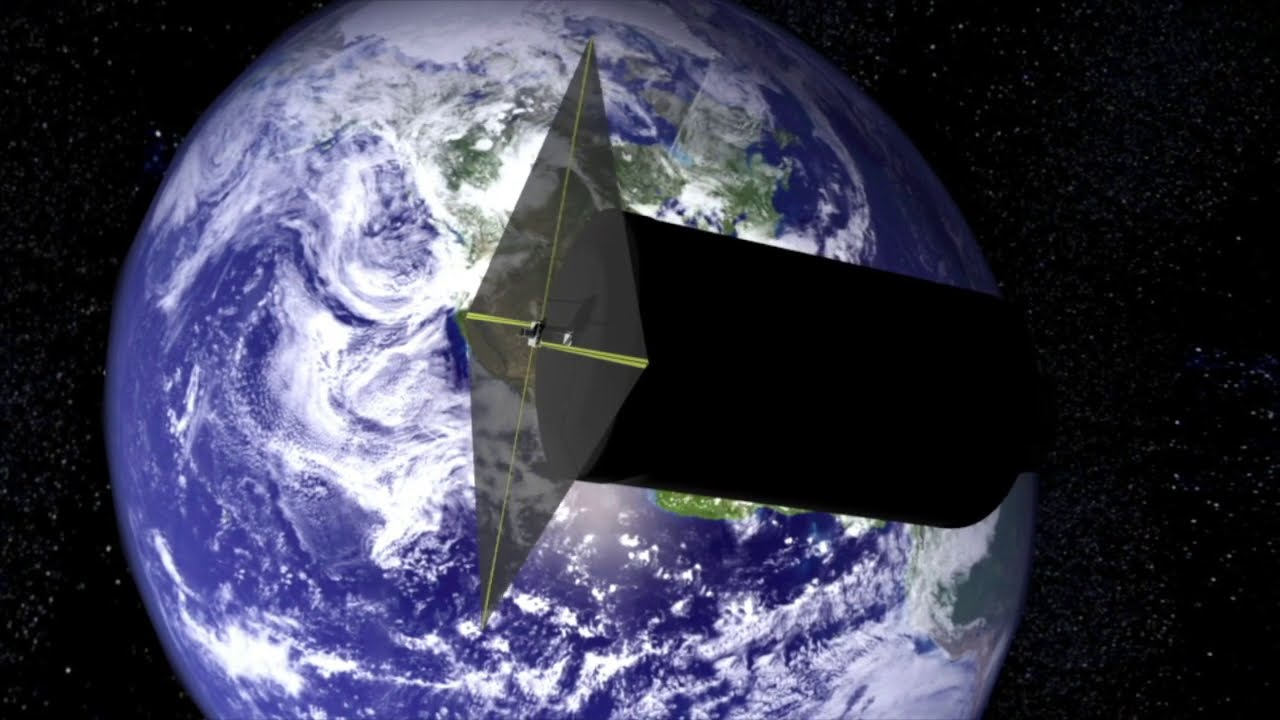 Animation: Spinnaker3 drag sail attached to a launch vehicle in space