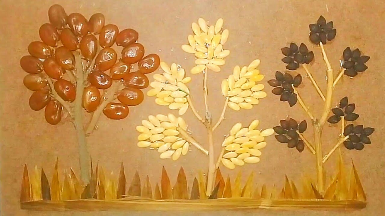 Membuat Kolase Mosaik Dari Biji Bijian Gambar Pohon Youtube