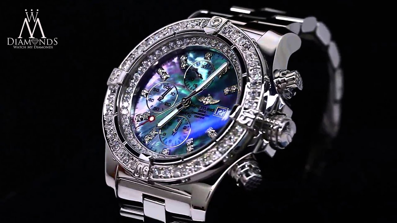 breitling super avenger black mother of pearl a13370