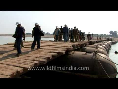 Tourista crossing a makeshift pontoon bridge over the Chambal river