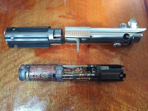 Anakin Luke Skywalker Graflex lightsaber rotating kyber crystal chamber metal chassis #001