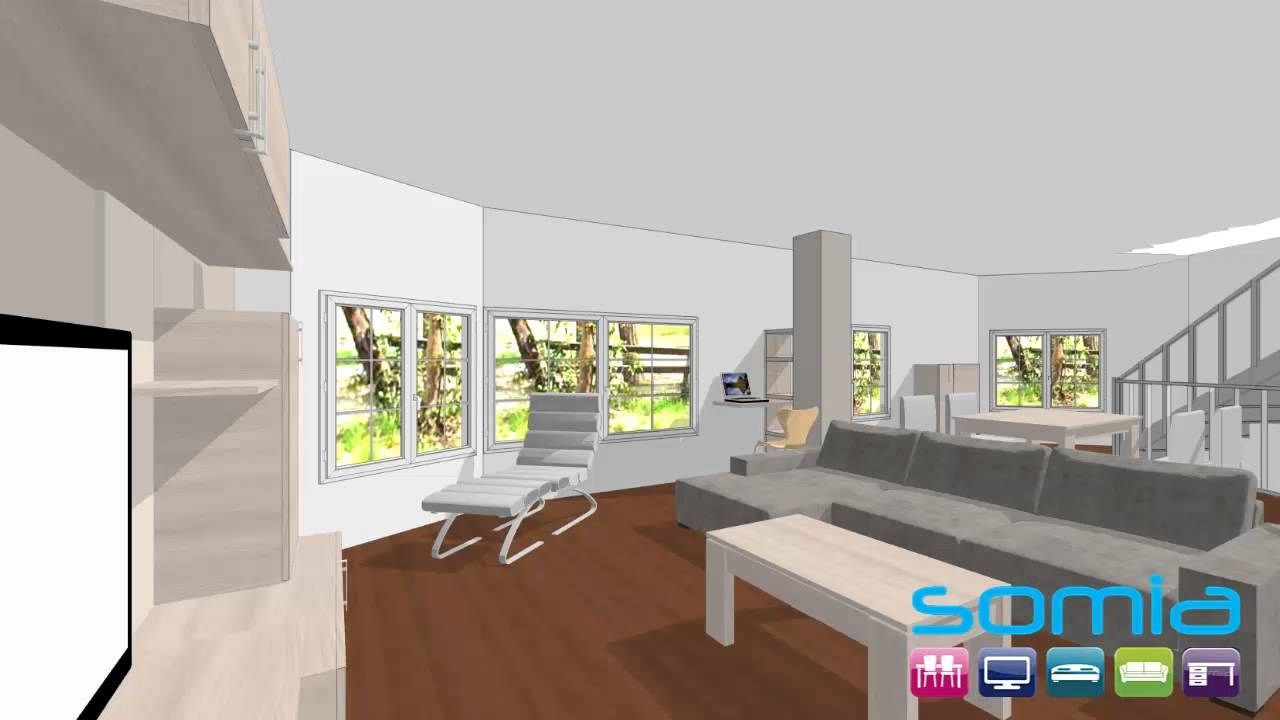 Diseño 3d Somia, Tienda Muebles Salon moderno Valencia acabado ...