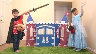 段ボール城 ステキなお城をプレゼントするよ♪ こうくんねみちゃん Knights Castle Craft thumbnail