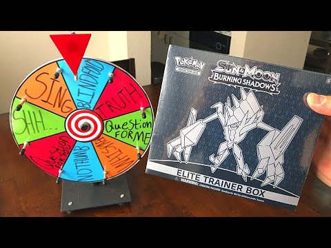 SPIN THE MYSTERY WHEEL CHALLENGE! - Unboxing a Pokemon Cards BURNING SHADOWS BOX!