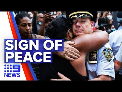 Protesters And Police Officers Join In Solidarity   Nine News Australia