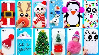 15 DIY CHRISTMAS PHONE CASES | Easy & Cute Phone Projects & iPhone Hacks