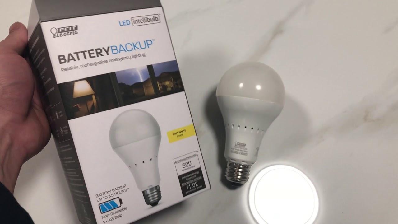 Feit Electric Battery Backup Led Bulb Intellibulb 3 5 Hours Battery Backup Youtube