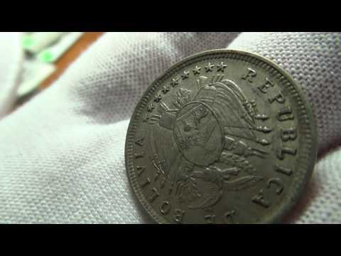 1909-H Bolivia Silver 20 Centavos