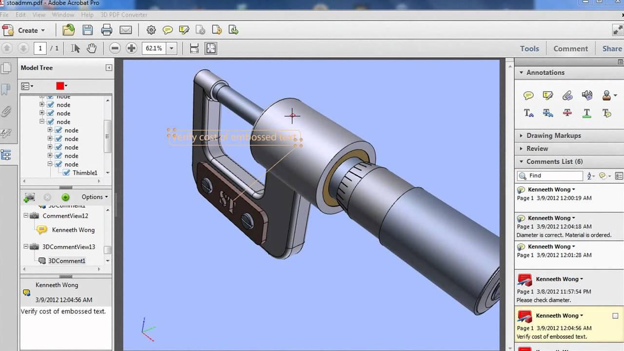 Acrobat X Pro and Tetra 4D's 3D PDF Converter - Virtual Desktop