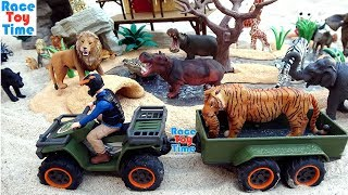 Wildlife Animals Toys Rescue Adventure with Schleich Quad Playset For Kids