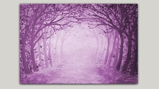 Acrylic Painting Magenta Forest Path Gesso and Color Wash