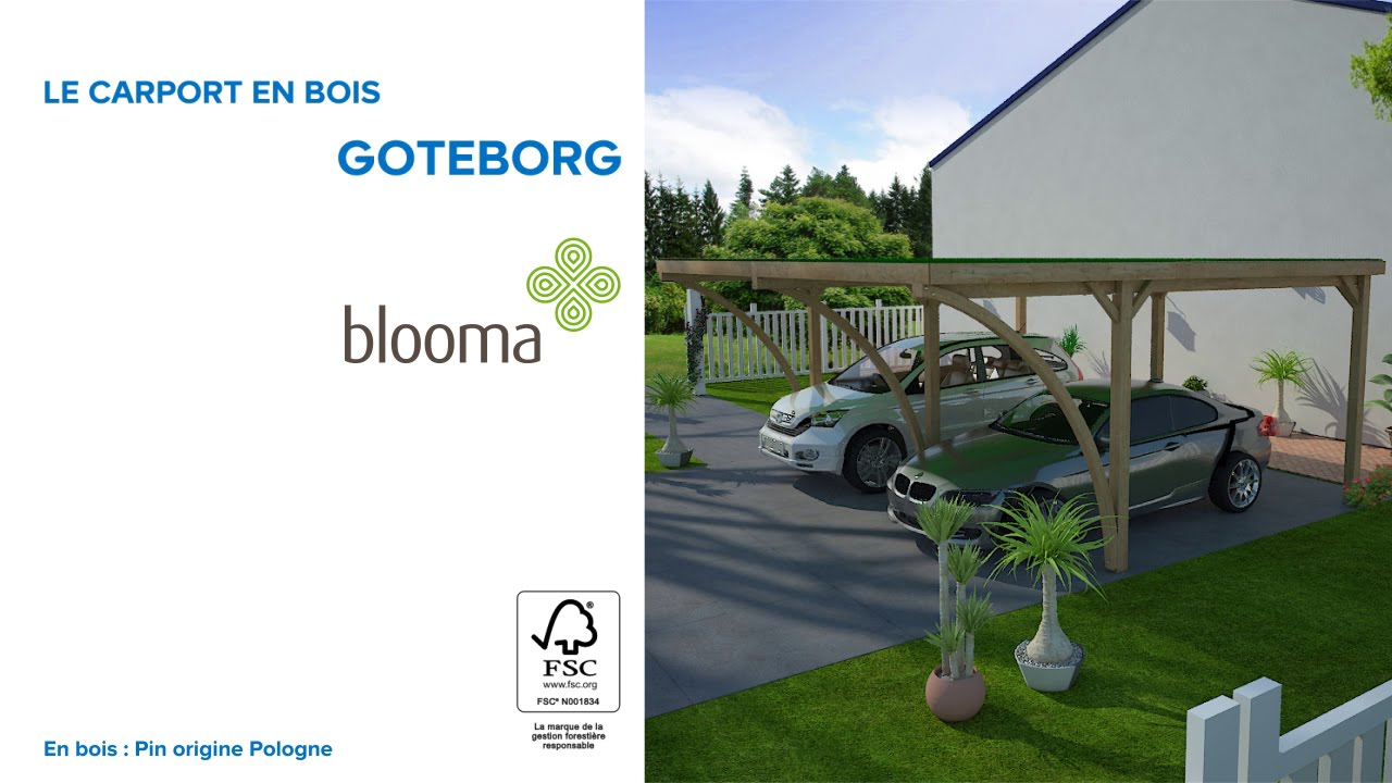 carport en bois g teborg blooma 678732 castorama youtube. Black Bedroom Furniture Sets. Home Design Ideas