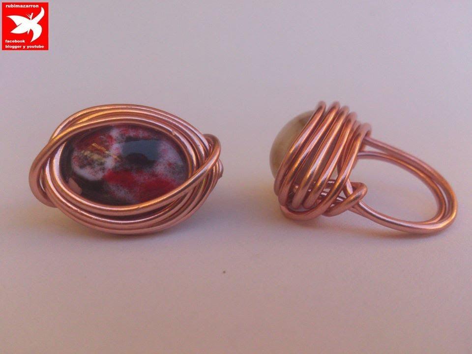 Diy anillo de alambre de aluminio con piedra ring - Manualidades con piedras de playa ...