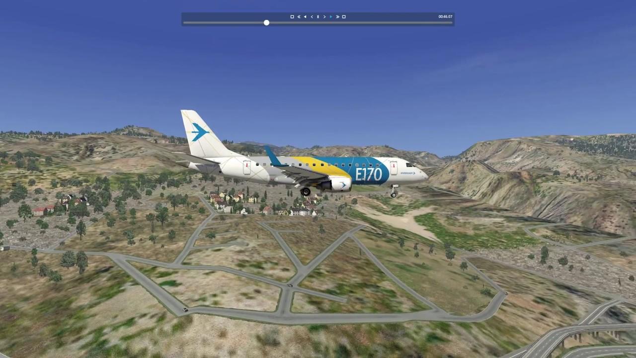 X Plane 11 - Landing Embraer 170 at LPMA Madera - Lufthansa