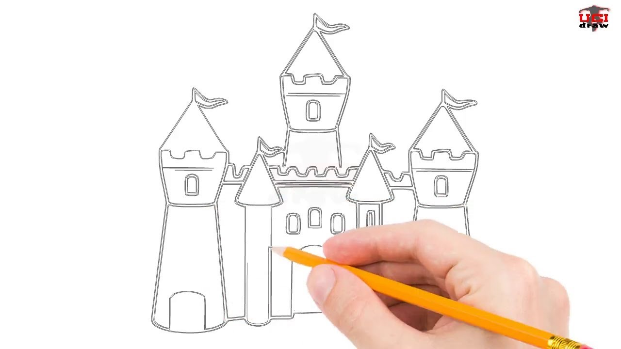 how to draw a castle step by step easy for beginnerskids simple castles drawing tutorial