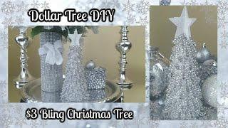 DOLLAR TREE DIY | BLINGY CHRISTMAS TREE $3 EASY HOME DECOR CRAFT