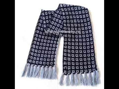 мужской шарф клетка крючком Youtube