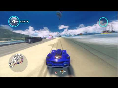 Sonic and All-Stars Racing Transformed Wii U Outrun Bay gameplay Nintendo