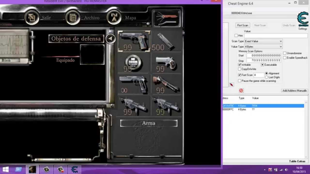 Meter cheats en Resident Evil Remaster con Cheat Engine