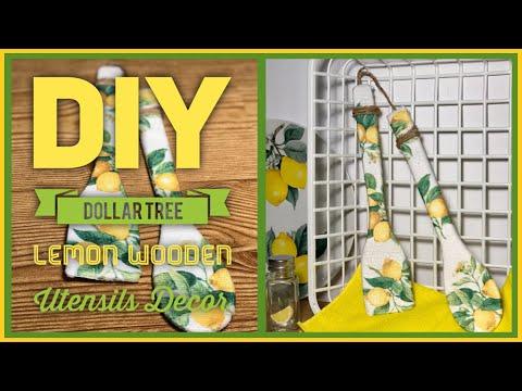 DIY Dollar Tree Lemon Wooden Utensil Wall Decor - Farmhouse Rustic Lemon Summer Room Decor