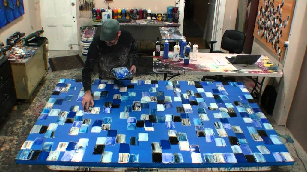 How to create large acrylic abstract art using textured for Creating a mural